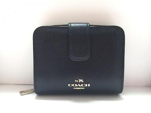 COACH(コーチ) 2つ折り財布美品  - F52692 ダークネイビー レザー