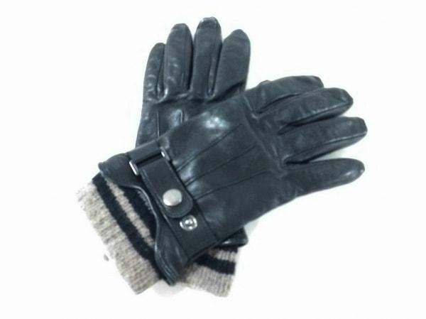 Gloves(グローブス) 手袋 レディース 黒×グレー ボーダー レザー×ウール×カシミヤ