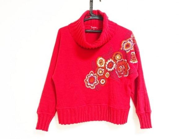 シャコック 長袖セーター サイズ0 XS レディース レッド×白×マルチ タートルネック