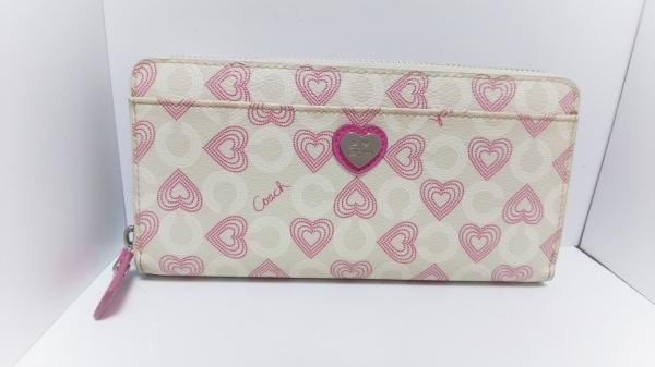 b7d0d0078302 コーチ 長財布 オプアート ハート - アイボリー×ピンク ハート PVC(塩化ビニール)