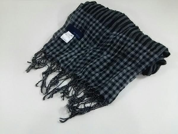 ジョセフアブード ストール(ショール) 黒×グレー チェック柄 ポリエステル