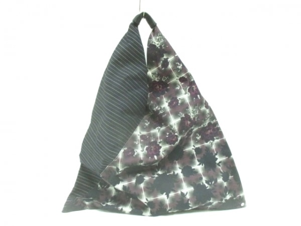 エムエムシックス ハンドバッグ美品  黒×マルチ 花柄/ボーダー キャンバス×レザー