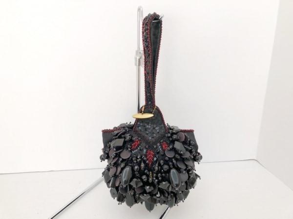 メアリーフランシス ハンドバッグ 黒×レッド ビジュー/ビーズ/スパンコール