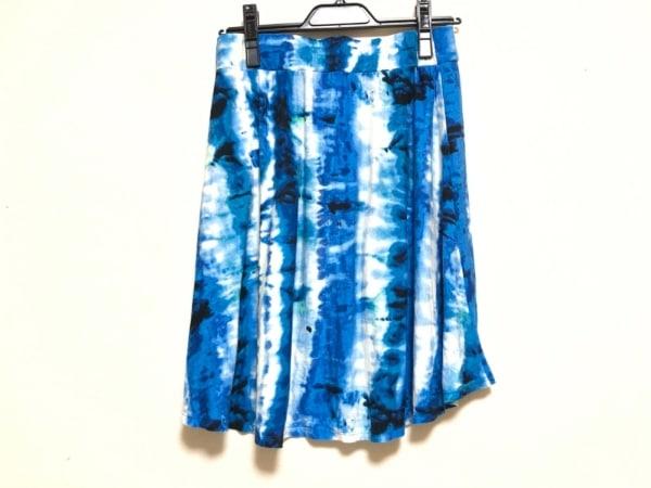 three dots(スリードッツ) スカート サイズXS レディース ダークネイビー×ブルー×白
