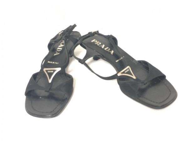 PRADA(プラダ) サンダル 35 レディース 黒 ナイロン