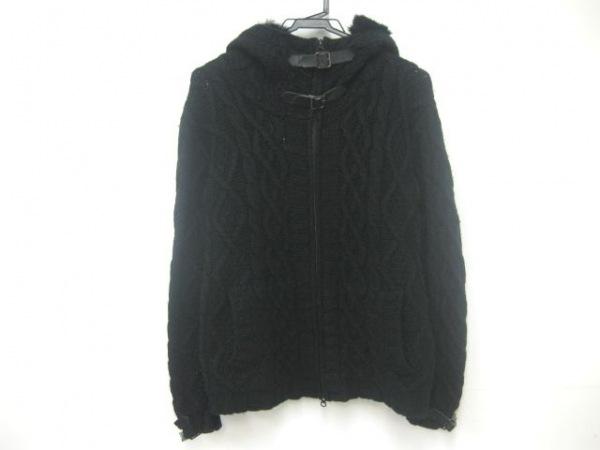 テットオム ブルゾン サイズ5 XL メンズ美品  黒 冬物/ジップアップ/ニット