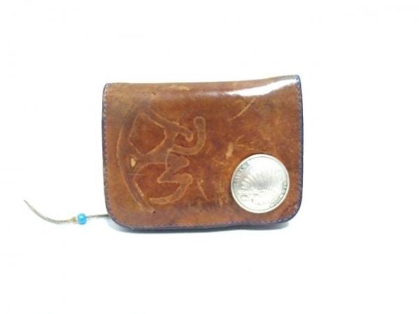 REDMOON(レッドムーン) 2つ折り財布 ブラウン×シルバー レザー