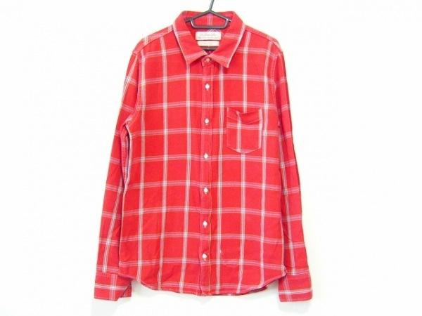 レミ レリーフ 長袖シャツ サイズL メンズ レッド×ネイビー×マルチ チェック柄