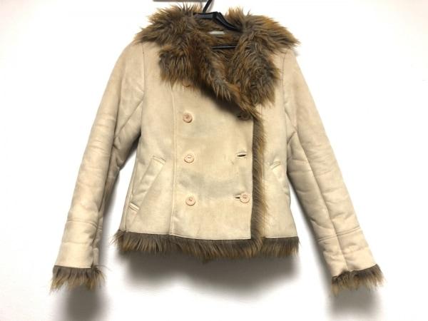 アンプリベ コート サイズ2 M レディース ベージュ×ブラウン 冬物/フェイクレザー