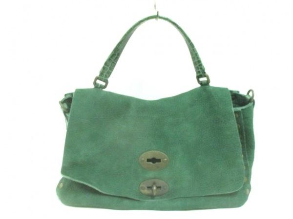 ザネラート ハンドバッグ ポスティーナ グリーン 型押し加工 スエード×レザー