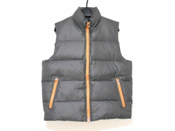 キャロウェイ ダウンベスト サイズL メンズ美品  ダークグレー×白 冬物/ストライプ