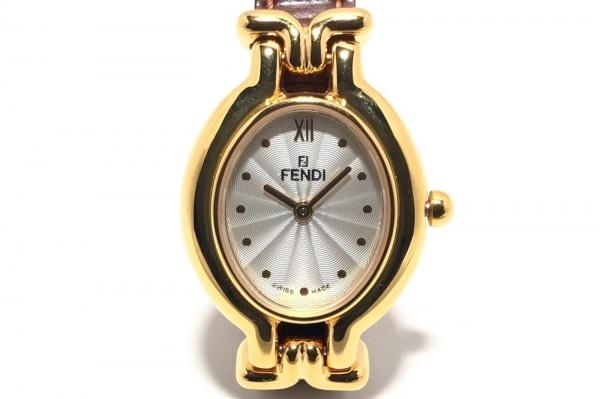 FENDI(フェンディ) 腕時計 640L レディース 革ベルト 白×シルバー