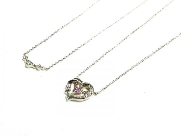 4℃(ヨンドシー) ネックレス美品  シルバー×ラインストーン ピンク 2点セット/ハート