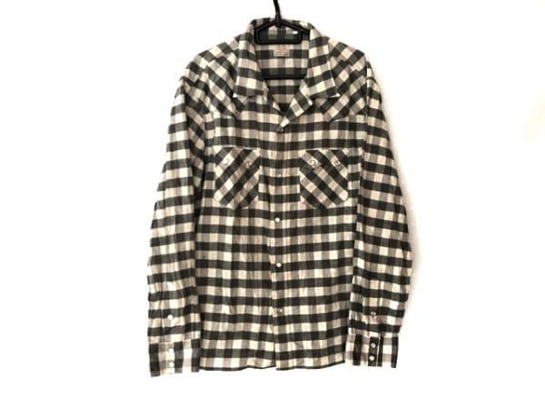 フラットヘッド 長袖シャツ サイズ42 L メンズ グレー×アイボリー チェック柄