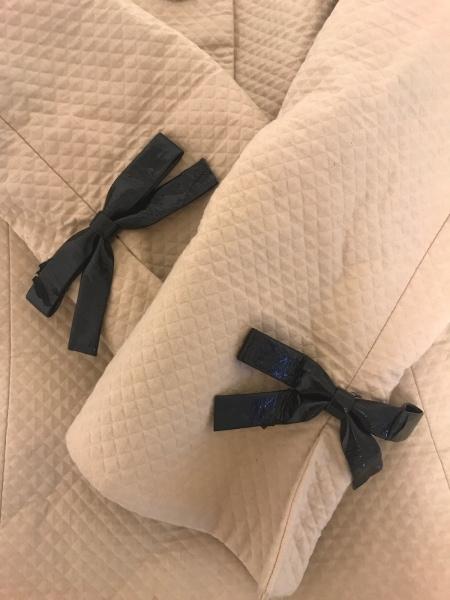 キミジマ スカートスーツ サイズ9 M レディース ベージュ×黒 リボン/チェック柄
