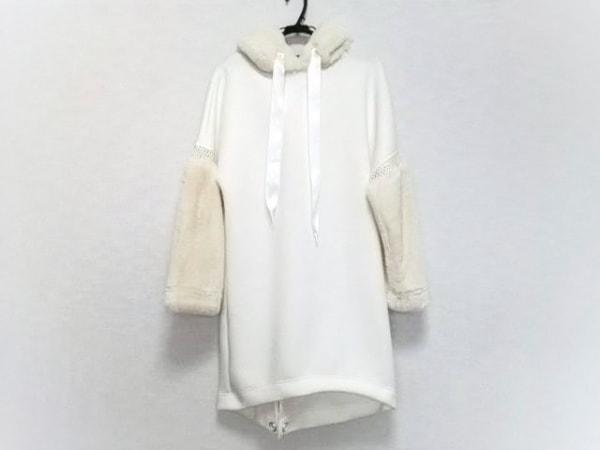 アウラ ワンピース サイズ0 XS レディース美品  白×アイボリー フェイクファー切替