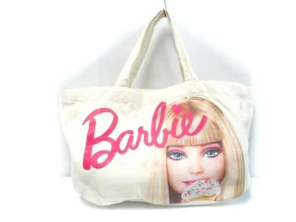 Barbie(バービー) トートバッグ アイボリー×ピンク×マルチ キャンバス