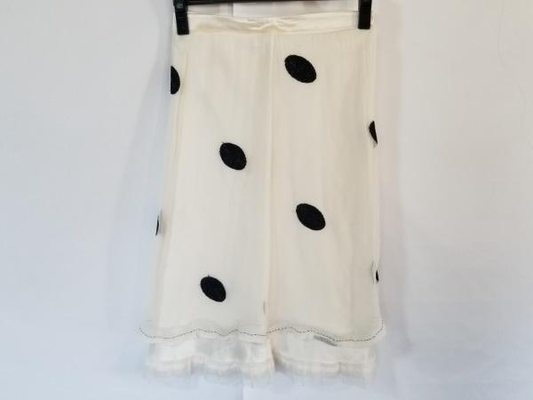 エルマノシェルビーノ スカート サイズ40 M レディース アイボリー×黒 シルク/刺繍