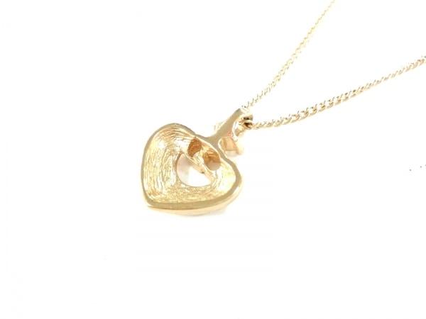 クリスチャンディオール ネックレス美品  金属素材×ラインストーン ゴールド ハート