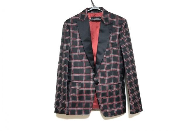 ディースクエアード ジャケット サイズ48 M メンズ美品  黒×レッド×白 チェック柄