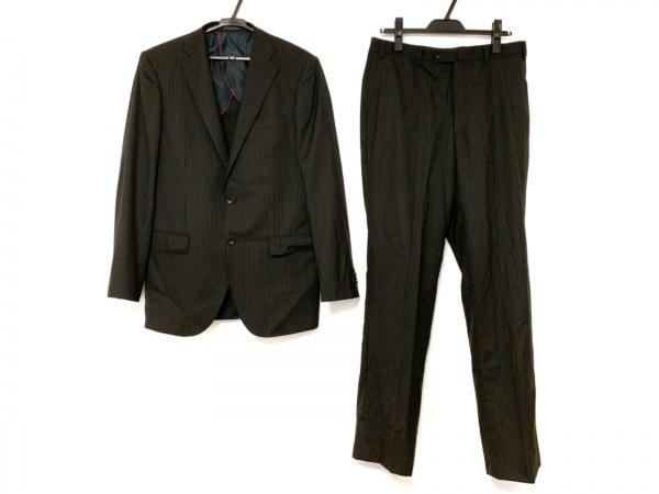ヒルトンタイム シングルスーツ サイズYA7 メンズ 黒×グレー ストライプ
