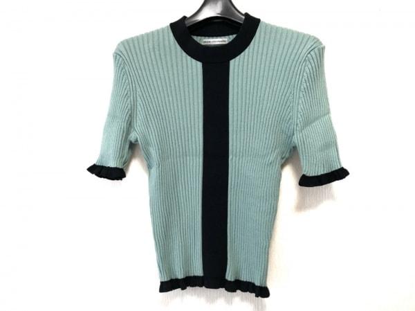 アカネ ウツノミヤ 半袖セーター サイズF レディース ライトグリーン×黒