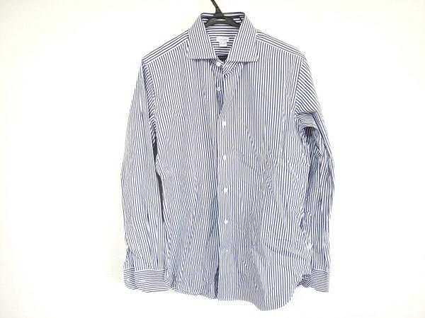 ORIAN(オリアン) 長袖シャツ サイズ39 メンズ美品  白×ネイビー ストライプ
