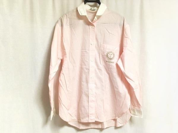 ピッコーネ 長袖シャツブラウス サイズ38 S レディース ピンク×白 チェック柄/刺繍