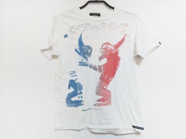オーバーザストライプス 半袖Tシャツ サイズXS レディース 白×ブルー×レッド