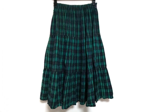ロックマウント ロングスカート サイズS レディース美品  グリーン×黒×マルチ