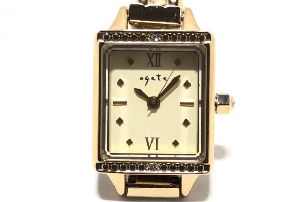 agete(アガット) 腕時計美品  - レディース 3Pダイヤ/リューズダイヤ アイボリー