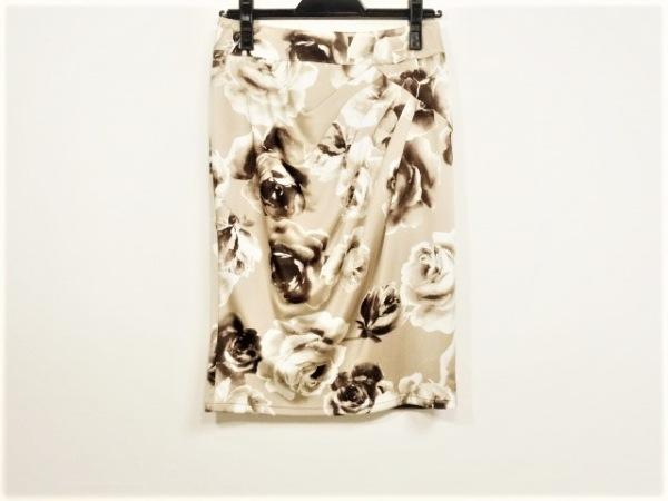 マテリア スカート サイズ38 M レディース ベージュ×白×ダークブラウン 花柄