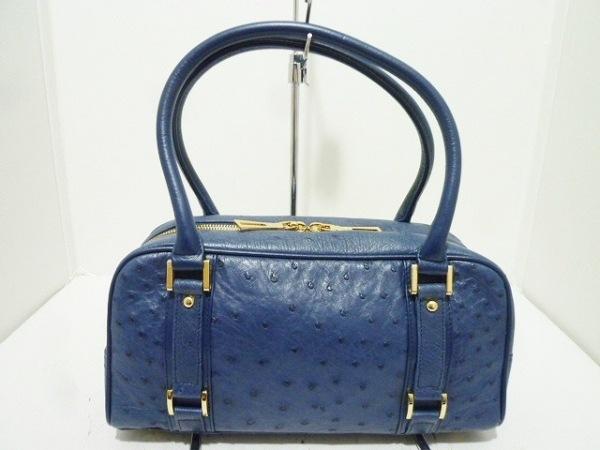 ファルチ ニューヨーク ショルダーバッグ美品  ダークネイビー×ゴールド