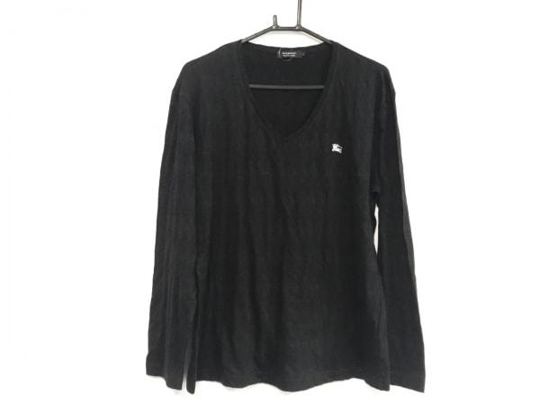 バーバリーブラックレーベル 長袖カットソー サイズ3 L メンズ美品  黒