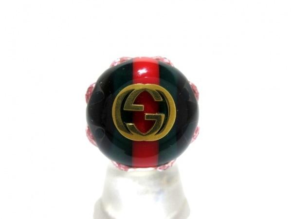 GUCCI(グッチ) リング美品  ダブルG/シェリー 金属素材 ゴールド×マルチ
