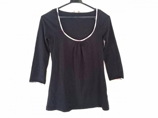 バーバリーブリット 七分袖カットソー サイズXS レディース 黒×ベージュ×マルチ