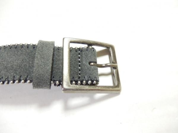 agnes b(アニエスベー) ベルト 75 ダークグレー×シルバー スエード×金属素材