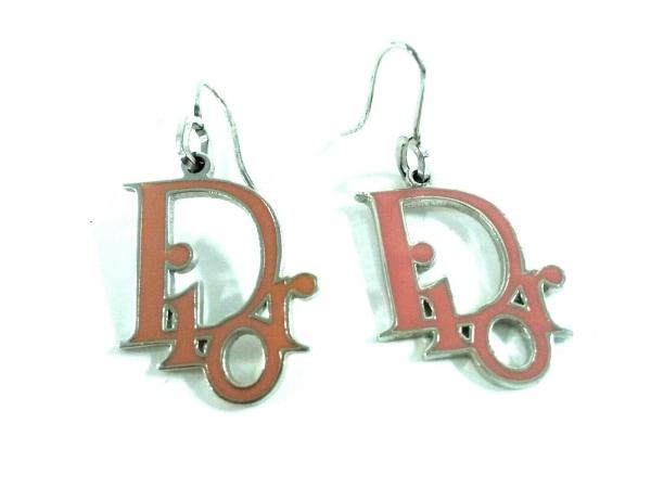 クリスチャンディオール ピアス美品  金属素材 シルバー×ベージュ Diorモチーフ