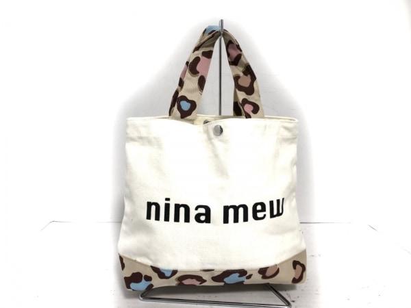 ninamew(ニーナミュウ) トートバッグ美品  白×ベージュ×マルチ 豹柄 キャンバス