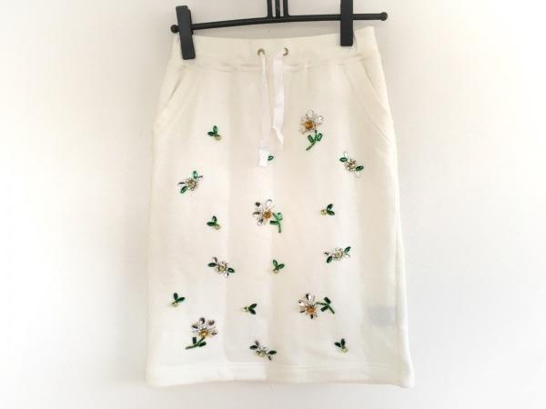 MUGUET(ミュゲ) スカート レディース 白×グリーン×マルチ