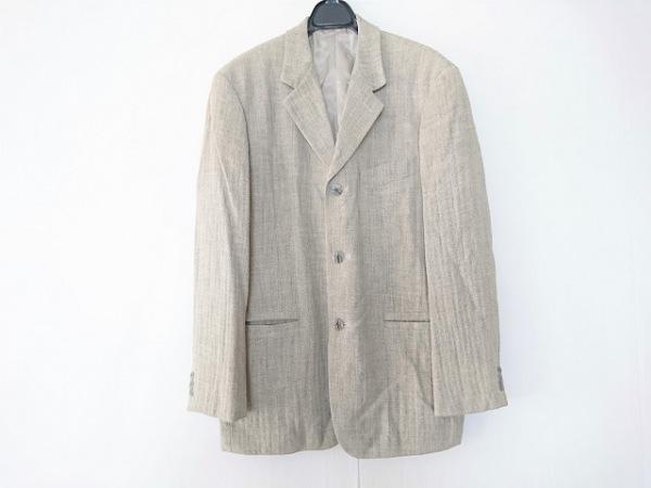 テリット ジャケット サイズ46 XL メンズ ライトグレー ヘリンボーン/リネン混