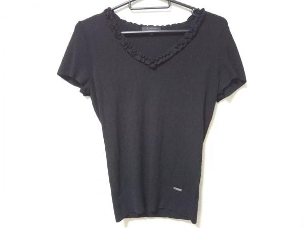 バーバリーブラックレーベル 半袖セーター サイズ38 M レディース美品  黒 フリル