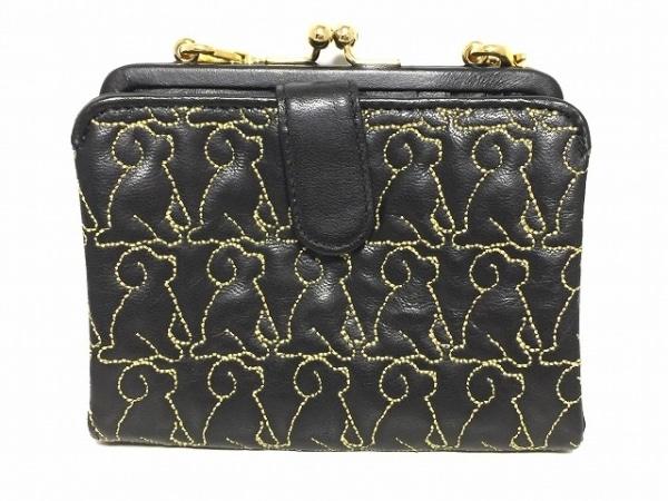 エッセンスオブポイズン 2つ折り財布美品  黒×ゴールド 犬/刺繍/がま口 レザー