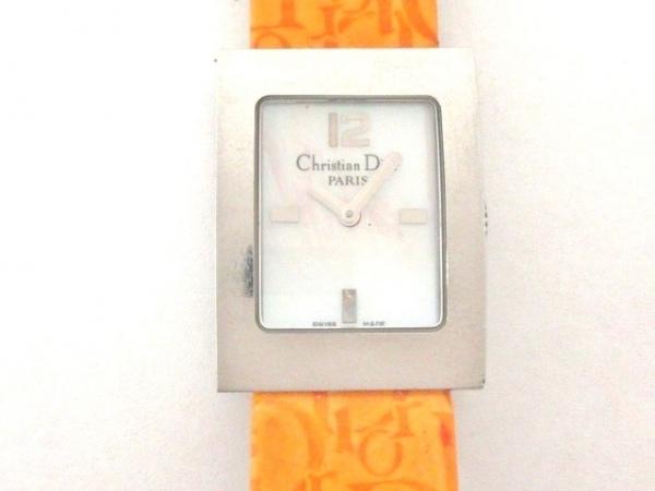 ディオール 腕時計 マリススクエア D78-109 レディース 革ベルト シェルホワイト