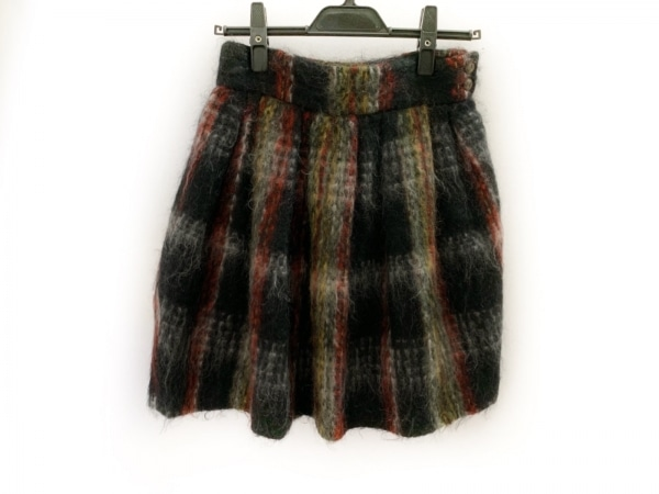 ルルロジェッタ スカート サイズ1 S レディース美品  黒×白×マルチ チェック柄