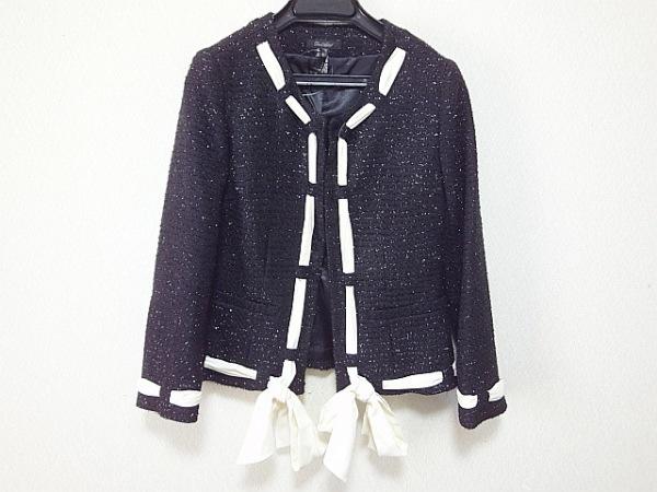デュラスアンビエント ジャケット サイズ1 S レディース美品  黒×白 ツイード/ラメ