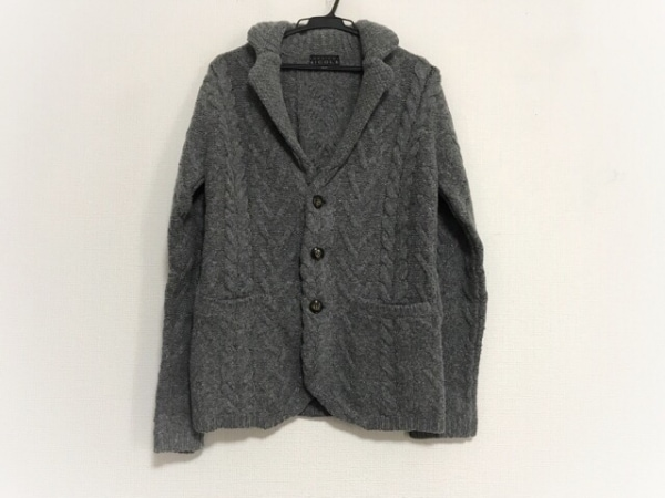 ムッシュニコル ジャケット サイズ46 XL レディース美品  ダークグレー ニット