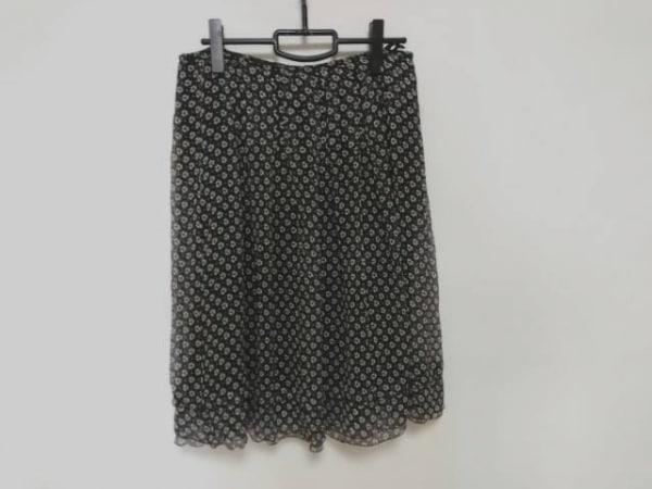 ROSSA(ロッサ) スカート サイズ46 XL レディース美品  黒×白 花柄