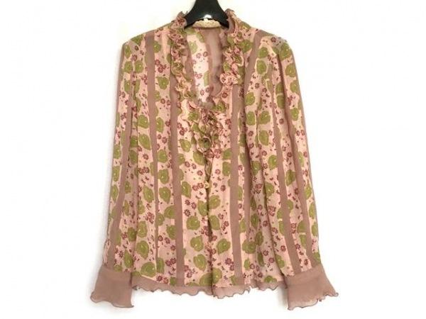 ロッサ 長袖シャツブラウス サイズ46 XL レディース美品  ピンク×グリーン×マルチ