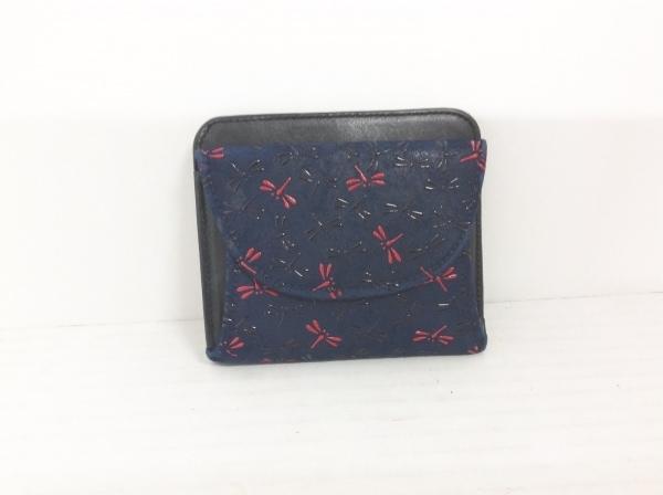 インデンヤ 2つ折り財布 ダークネイビー×黒×レッド トンボ ヌバック×レザー